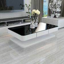 Black white amaze Glass Coffee Table High Gloss MDF 2 Storage Drawer Living Room