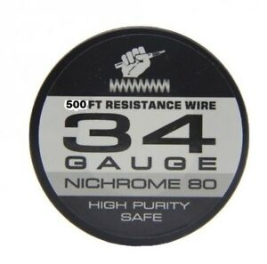 Nichrome 80 - 34 Gauge 500FT Resistance Wire High Purity - Ni80 Wire