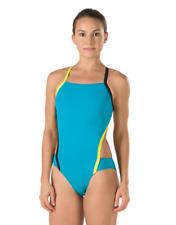 Speedo womens Swimsuit Swim suit Tropical Teal Endurance Lite VEE Cut 4 / 30