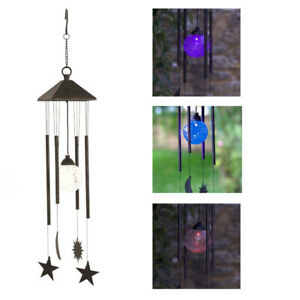 Sun Moon Star Wind Chime Solar Powered Colour Changing  Smart Garden