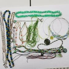 Green Necklace Lot of 18 Piece Jewelry Beaded Silver Tone Statement Multi Strand