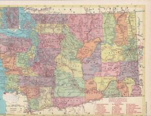 1957 Vintage Washington State Map / 9x12 Great size for Wall Art/ 60+ years old