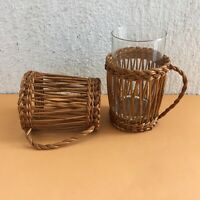 Vintage Woven Wicker Glass Holder With Handle Set Of 2
