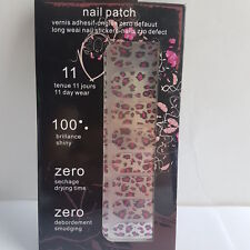 16 Silver Nail Patch Foils with Pink & Black Splash Design