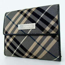 Authentic BURBERRY Nova check button & purse opening and closing wallet canv...