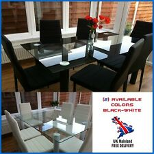 Glass Dining Set Table Faux Leather Chairs 6 Seat Metal Legs Home Room Furniture