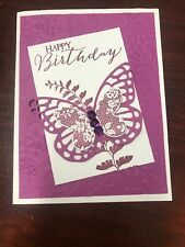 """Stampin Up Card Kit Set Of 4 """"Happy Birthday"""" Razzleberry Butterfly"""