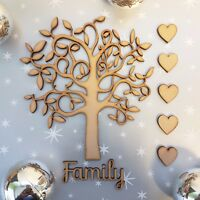 Wooden MDF Family Tree Shape blank Family Tree Guestbook Crafting Hearts+ Family