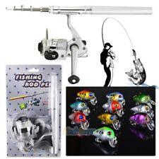 Aluminum Pocket Pen Shape Fishing Fish Rod Pole+Reel & 10Pcs Fishing Lures Usa