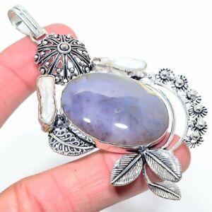 """Botswana Agate, Citrine Gemstone Handmade Ethnic Gift Jewelry Pendant 3.74"""" LL"""