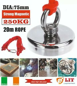 Monster Fishing Magnet 250KG Pulling Force D75 Neodymium With 20m Rope.
