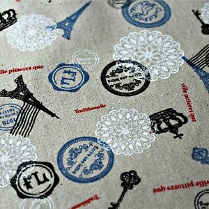 100% Linen Cotton French Chic Design Fabric - Full Meter 100 x 145cm