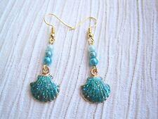 GLITTER ENAMEL SEA SHELL Pearl Bead Drop Earrings Aqua Blue Turquoise Seashell
