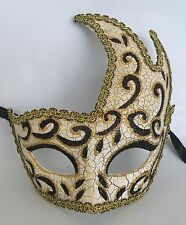 Venetian Masquerade Party Mask Crackled Black Gold & White Express Post Option