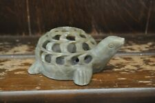 A Fabulous Green Soapstone Handcarved Tortoise With a Smaller One Inside - 10cm