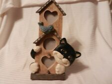 Resin Cat with Bird & Birdhouse 3-D Photo Frame, Holds 3 Small Photos
