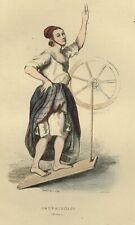 1842 LA DAUPHINOISE DAUPHINE Les Français ... estampe aquarellée époque