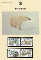 WWF010) WWF Panda, set of 4 FDC and set of 4 mint stamps,  Polar Bears, Russia,
