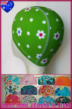 New listing Kids 2 - 5 yrs Lycra Swimming Cap - Green & White Flowers Childs Swim Hat - New