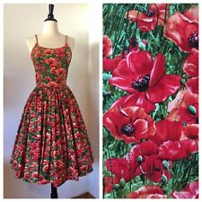 "Bernie Dexter Chelsea Dress In Poppy Print Size Medium / 28"" Waist"