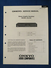 ONKYO EQ-240 EQUALIZER SERVICE MANUAL ORIGINAL FACTORY ISSUE GOOD CONDITION