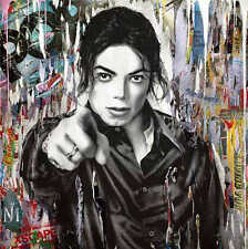 Mr Brainwash Oil Painting on Canvas Abstract Graffiti art Michael Jackson 28x28""