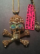 Betsey Johnson Necklace Crystal Glasses bones skeleton W-MOVABLE PARTS-BJ6920