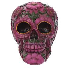 Deko Totenkopf rosa Blumen Motiv Totenschädel Schädel Blumen Hippie Gothic 15cm