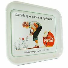 1993 Coca Cola Serving Tray Coke Soda Springtime Vintage Rose Girl White