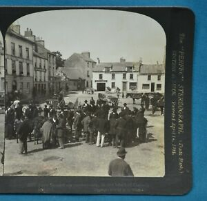 Stereoview Photo Ireland Eyre Square On Market Day In Heart Of Galway HC White