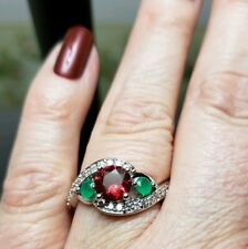 New Round Cut Red Spinel & Emerald Silver Ring Size 9!