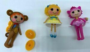 "Jewel Sparkles, Ace Fender, Curls N Locks Lalaloopsy Mini Doll figure 2.75"" Lot"