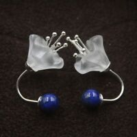 Solid 925 Sterling Silver Stud Earrings Natural Lapis Lazuli Stud Earrings