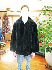 Vintage Black Sheered Beaver Fur Wrap Stole  Excellent Cond.