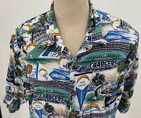 NFL San Diego Chargers Mens Hawaiian Shirt Sz 2XL SD Qualcomm Los Angeles Bolts
