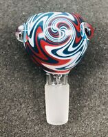 14mm / 18mm Round Wig Wag Glass Slide Bowl - Red / Blue