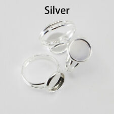 10Pcs Adjustable Ring Blank Base DIY for Glass Cabochon Jewelry Making Silver