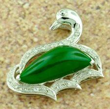 18k Solid White gold Natural Grade A Jade Lucky swan Love Diamond Pendant Dove