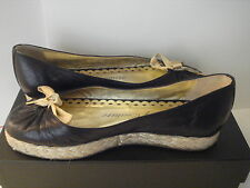 "JUICY COUTURE BLACK NAPPA WITH GOLD LACE "" LIVIA "" FLATS  SZ 6"