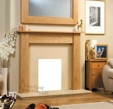 GAS / ELECTRIC OAK WOOD CREAM MARBLE STONE MODERN SURROUND FIRE FIREPLACE SUITE
