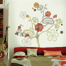 GARDEN OF PARADISE flowering TREE wall stickers Flocked Wall Decals 41pcs MURAL