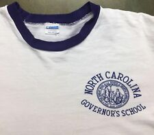 Vintage Mens L 70s North Carolina Governor's School Champion Blue Bar T-Shirt