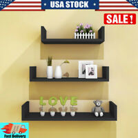 3PCS Floating Wall Mounted U-Shape Shelf Book CD Storage Holder Rack Room Decor
