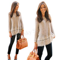 Modern Women Knitted Blouse Long Sleeve Lace Casual Shirt Loose Knitwear Tops