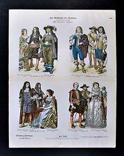 1880 Braun Costume Print 17th Century English Dress - Noblemen & Ladies England