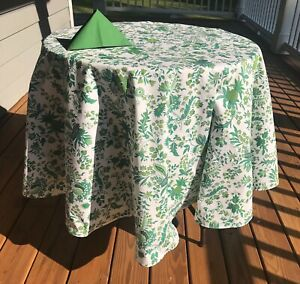 """LE CLUNY,  VERSAILLES GREEN FRENCH PROVENCE COATED COTTON TABLECLOTH, 72"""" x 52"""""""