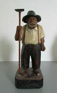 Antique Hand Carved Wooden Quebec Folk Art Man Farmer with Hoe