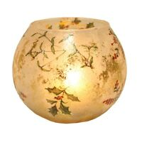 Christmas Decorative  Frosted Holly Globe Tealight Candle Holder 10.0cm   23649