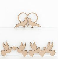 Wooden MDF Love Doves Wedding Decoration 3mm Thick Heart Rings Engagements