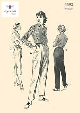 Vintage 1950's Sewing Pattern Cuffed Trousers Slacks Capri Pants Waist 28""
